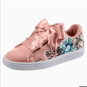 PUMA Basket Heart Hyper pink velvet sneakers, as 8